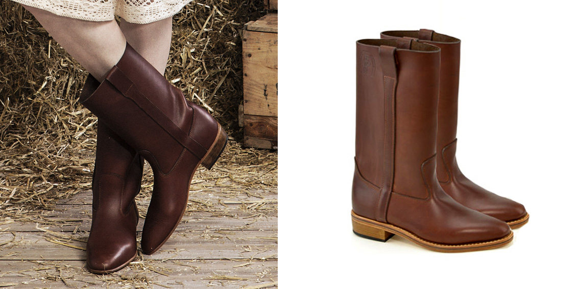 bottes d'équitation femme style chic en cuir marron made in france en camargue - la botte guardiane