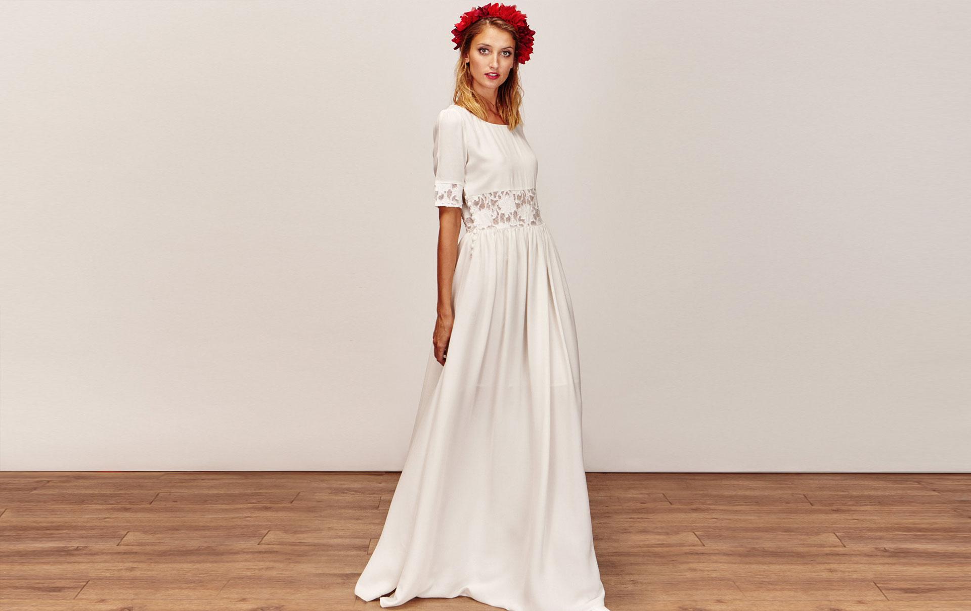 d87a5de58f2 Robe de mariée longue bohème effet crop-top en dentelle a manches longues  pas cher