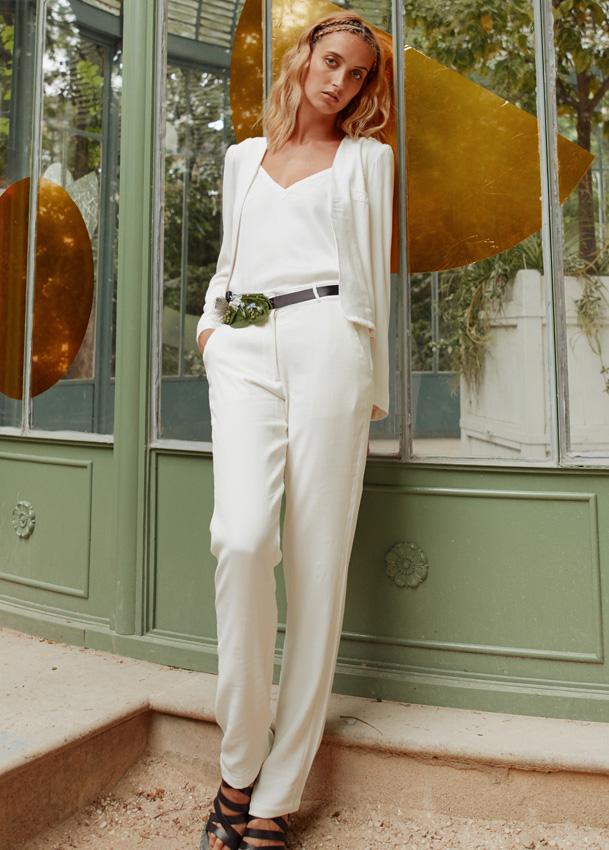 055c8a3b95e Pantalon de tailleur de mariée femme blanc pour mariage civil