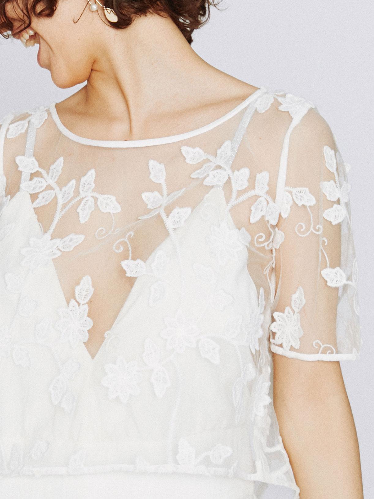 Arya - Crop top de mariée