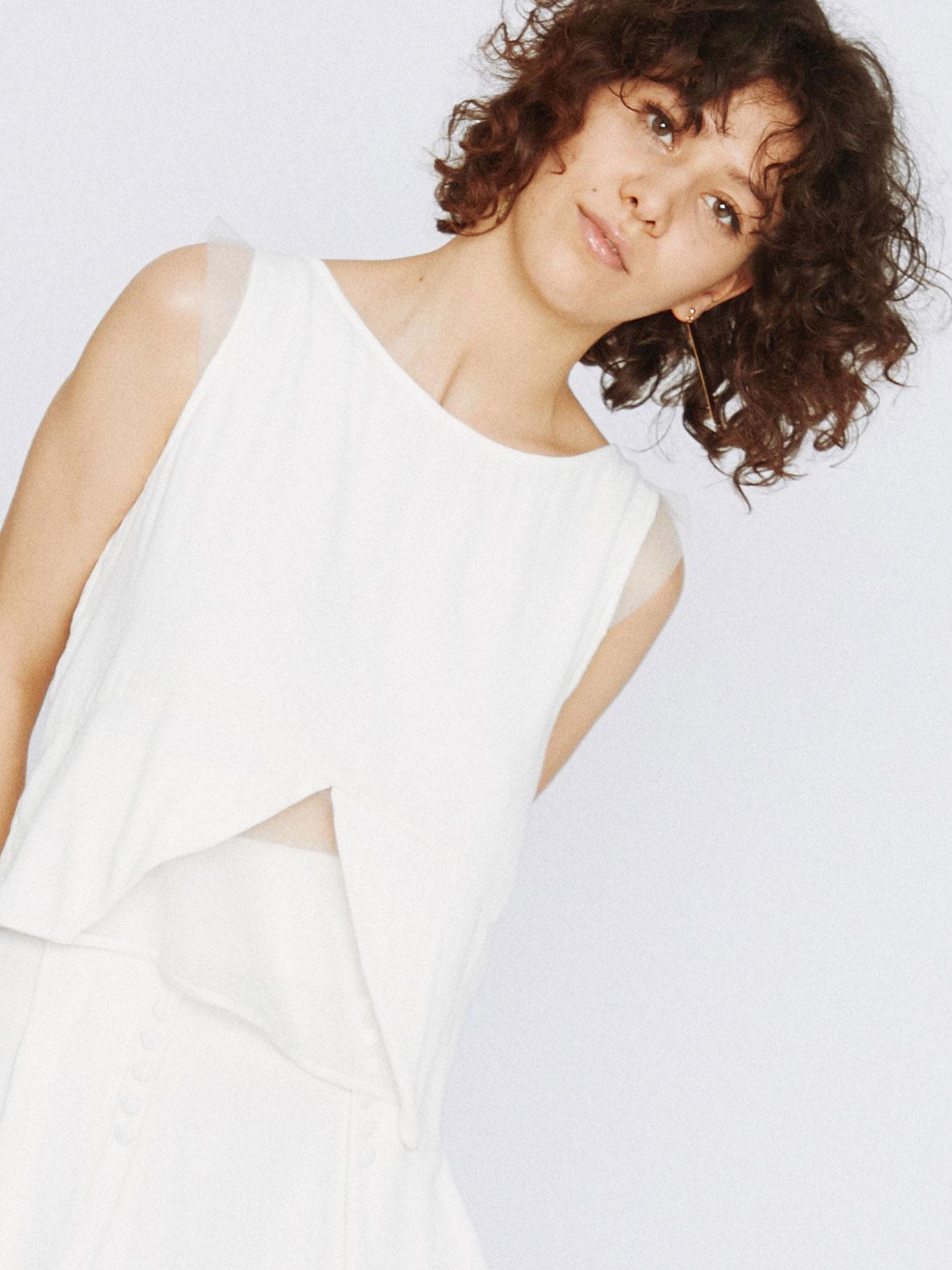 blouse de mariee bi-matiere graphique écoresponsable - Creatrice de robe de mariée éthique et bio a Paris - Myphilosophy