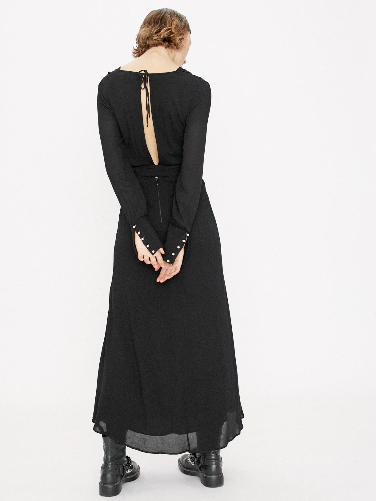 Robe longue noire a manches longues soiree écoresponsable - Creatrice de mode éthique et bio a Paris - Myphilosophy