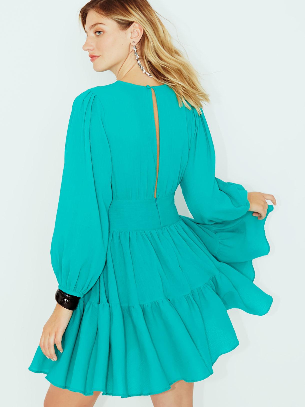Robe turquoise vegan a volants pour  invitee mariage ou soiree ecoresponsable - Myphilosophy