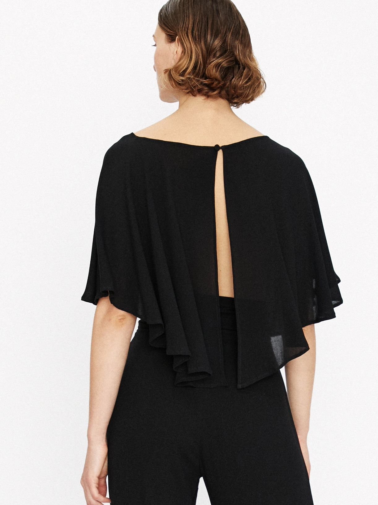 Capucine - crop top cape noir ecoresponsable - Myphilosophy