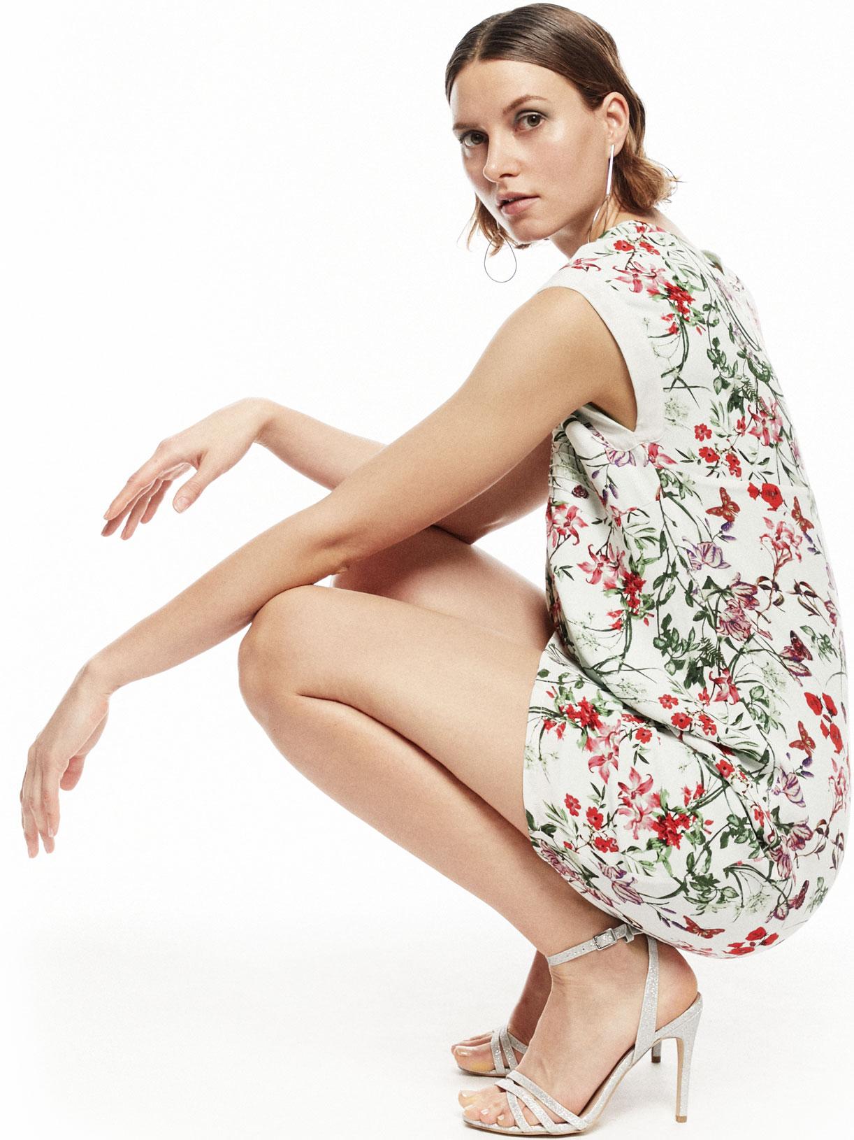Robe courte d'invitée mariage a motif fleuri   écoresponsable - Creatrice de mode éthique et bio a Paris - Myphilosophy