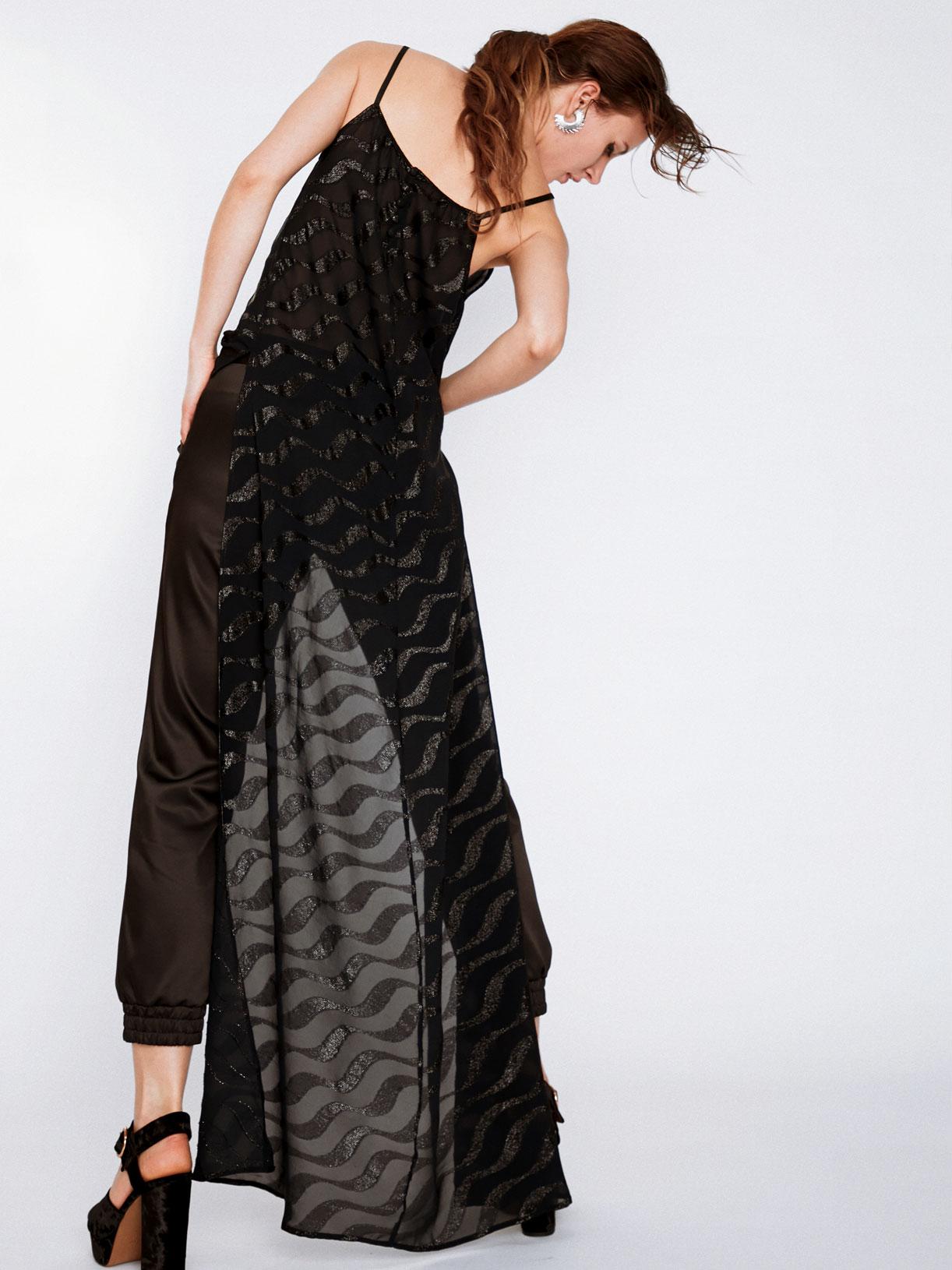 Top asymétrique a sequins noir de soirée écoresponsable - Creatrice de mode éthique et bio a Paris - Myphilosophy