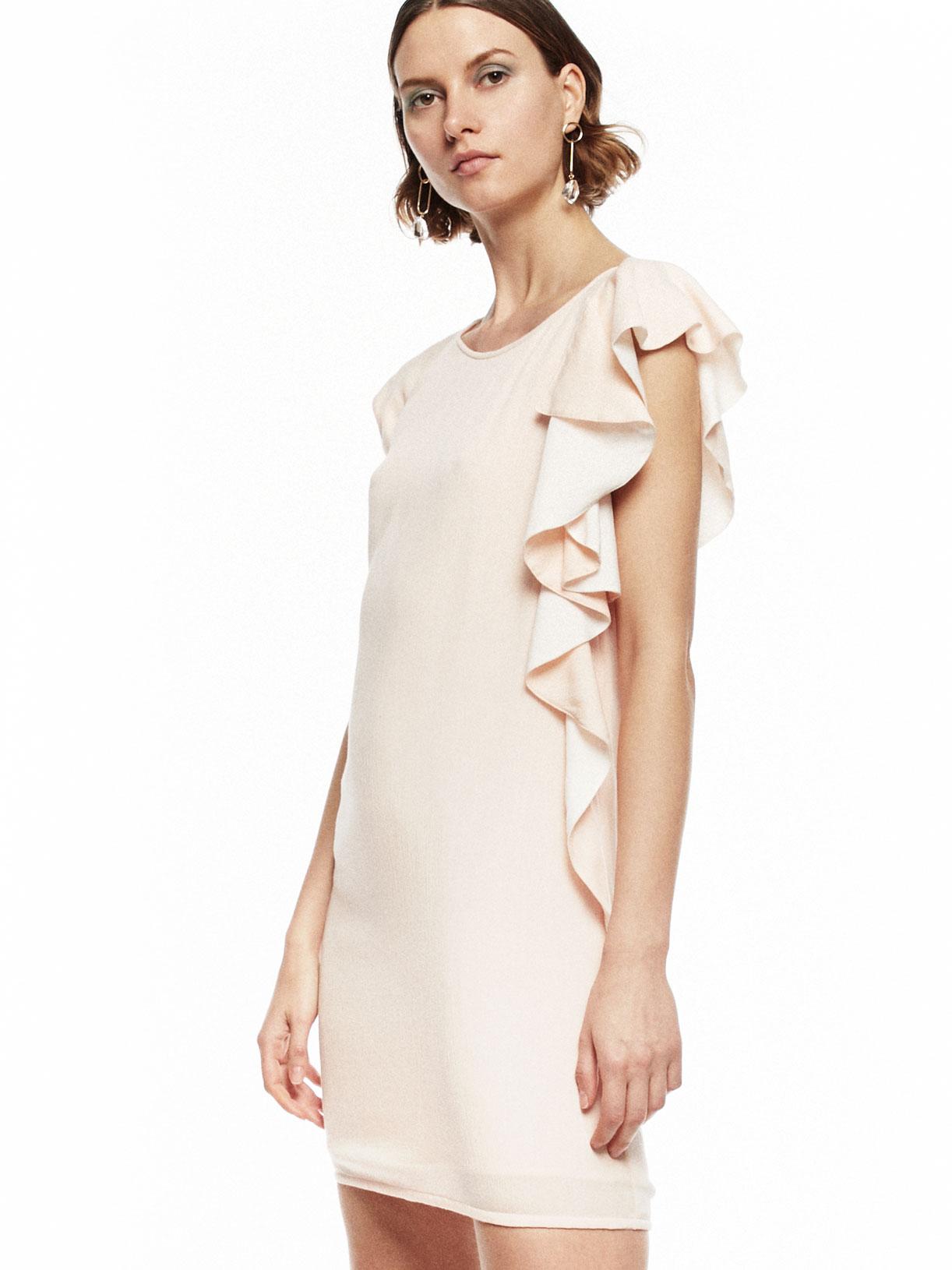 Robe d'invitee mariage courte rose poudre a volants écoresponsable - Creatrice de mode éthique et bio a Paris - Myphilosophy