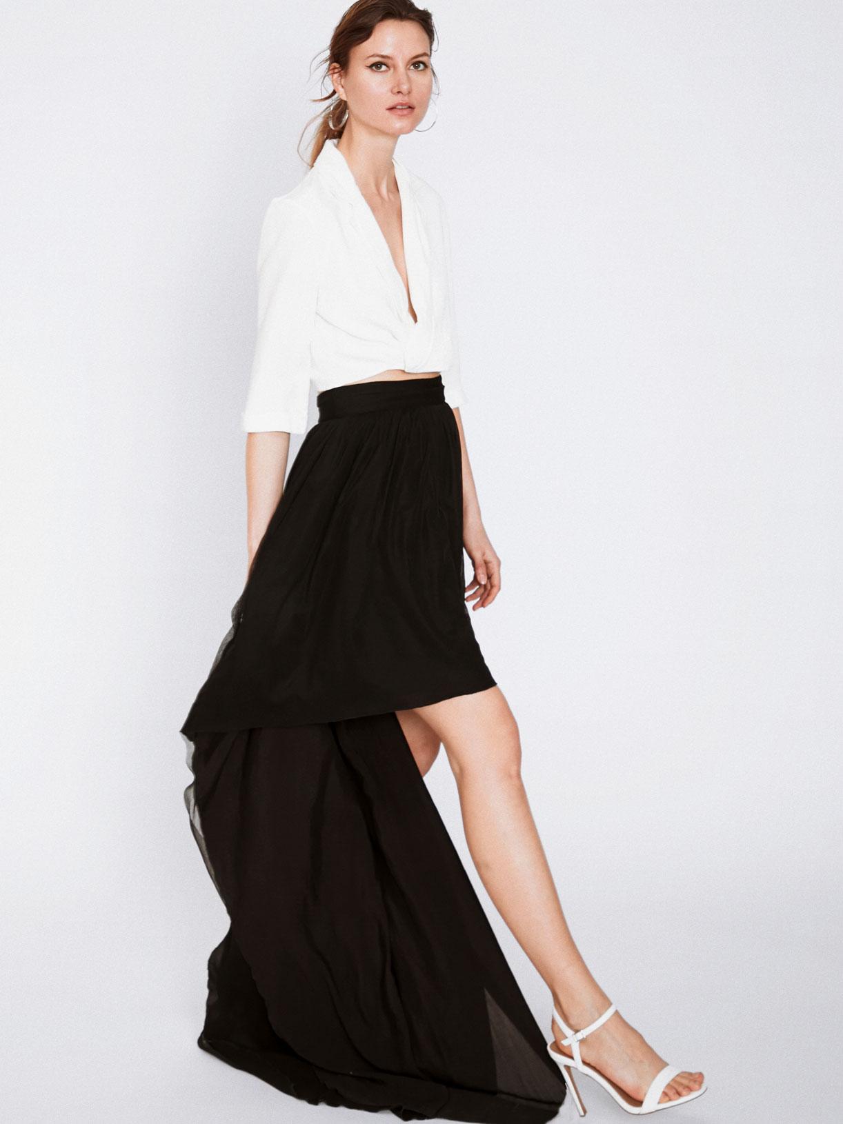jupe tenue d'invitee mariage et soiree noire asymetrique écoresponsable - Creatrice de mode éthique et bio a Paris - Myphilosophy