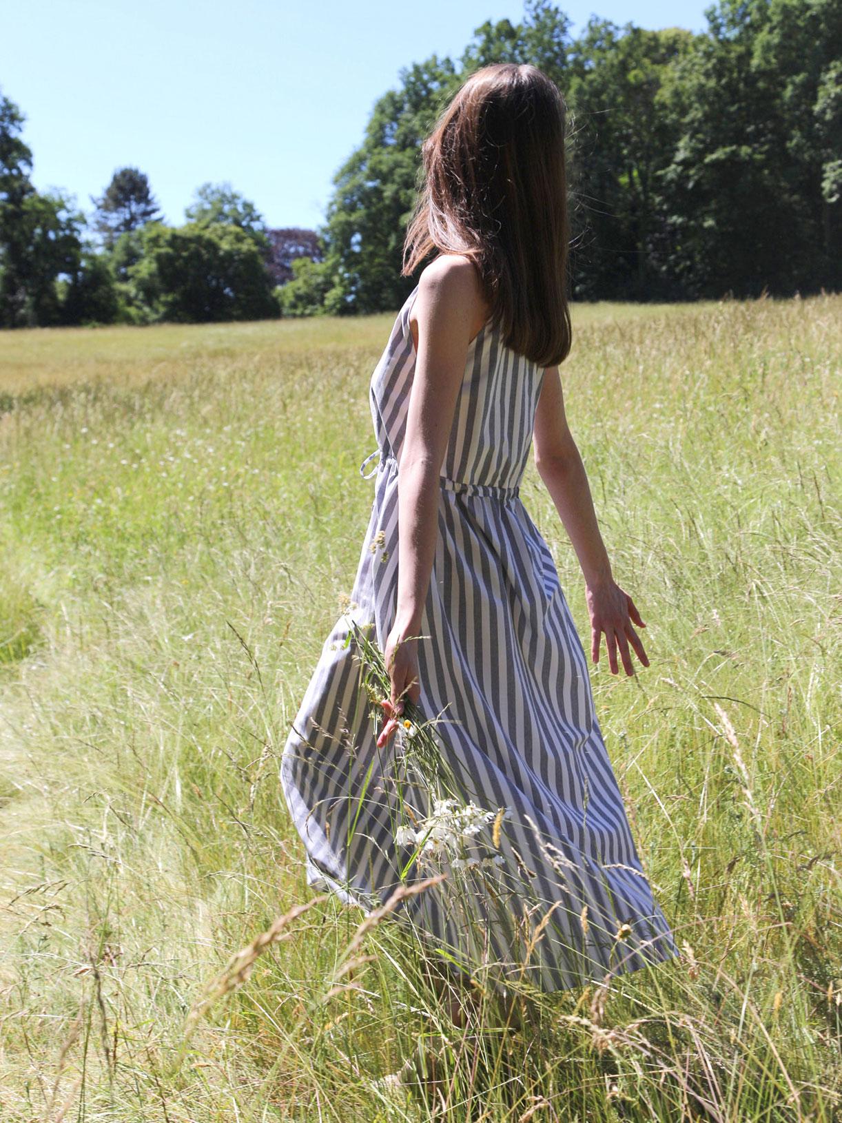 Robe longue en coton bio raye bleu - Myphilosophy