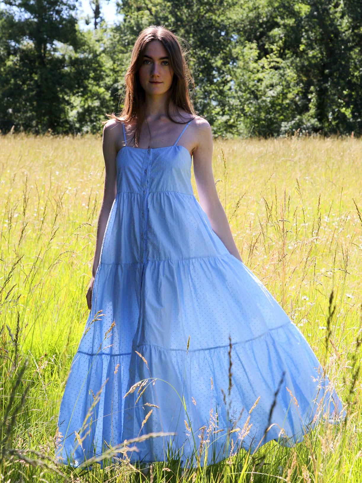 Robe en coton ecoresponsable Carla - Bleu