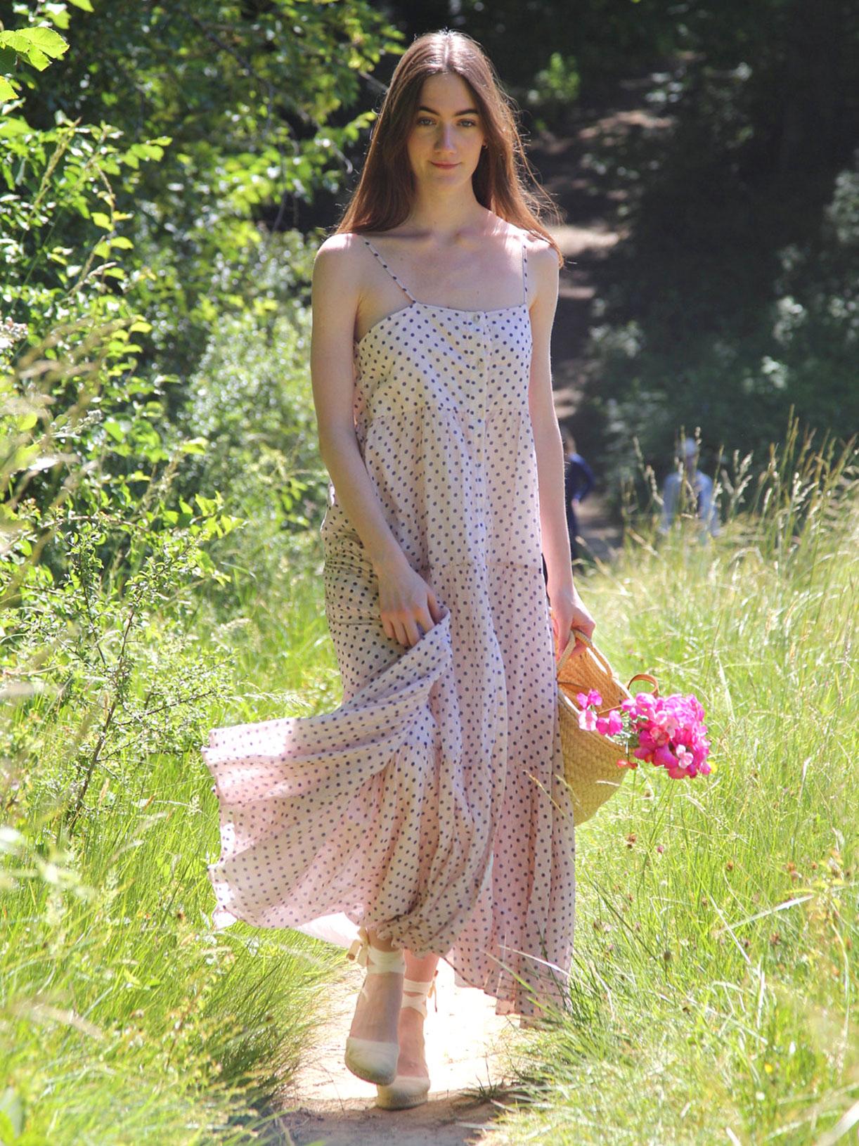 Robe longue a fine bretelles écoresponsable rose - Myphilosophy