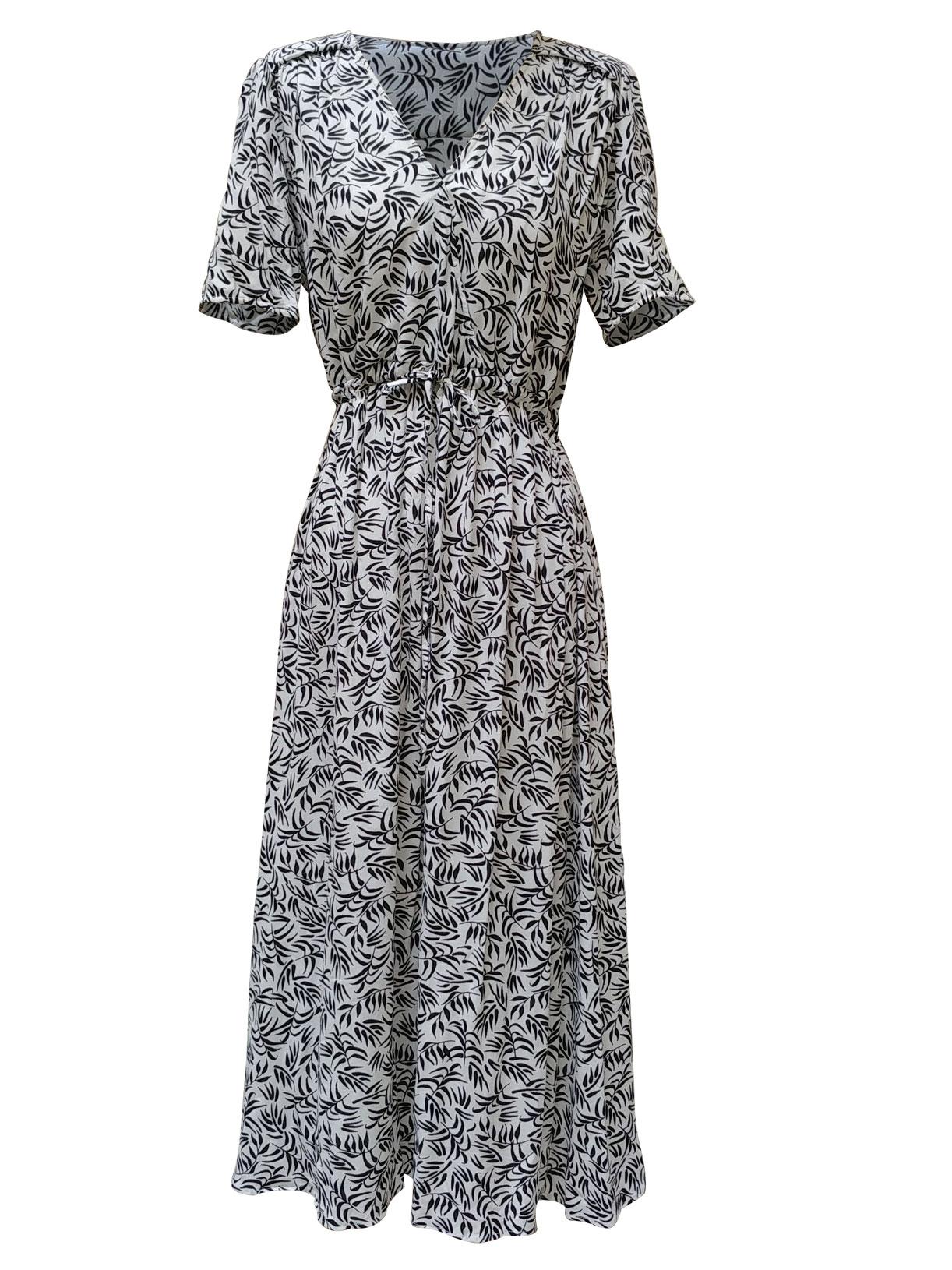 Robe longue ecoresponsable noir et blanc a motif - Myphilosophy
