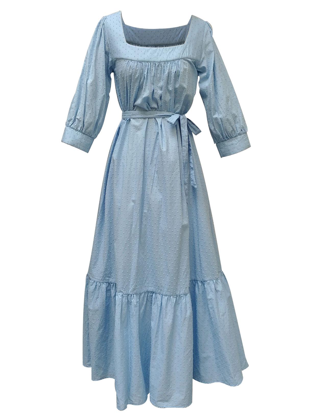 Robe longue romantique en plumetis bleu bio - Myphilosophy