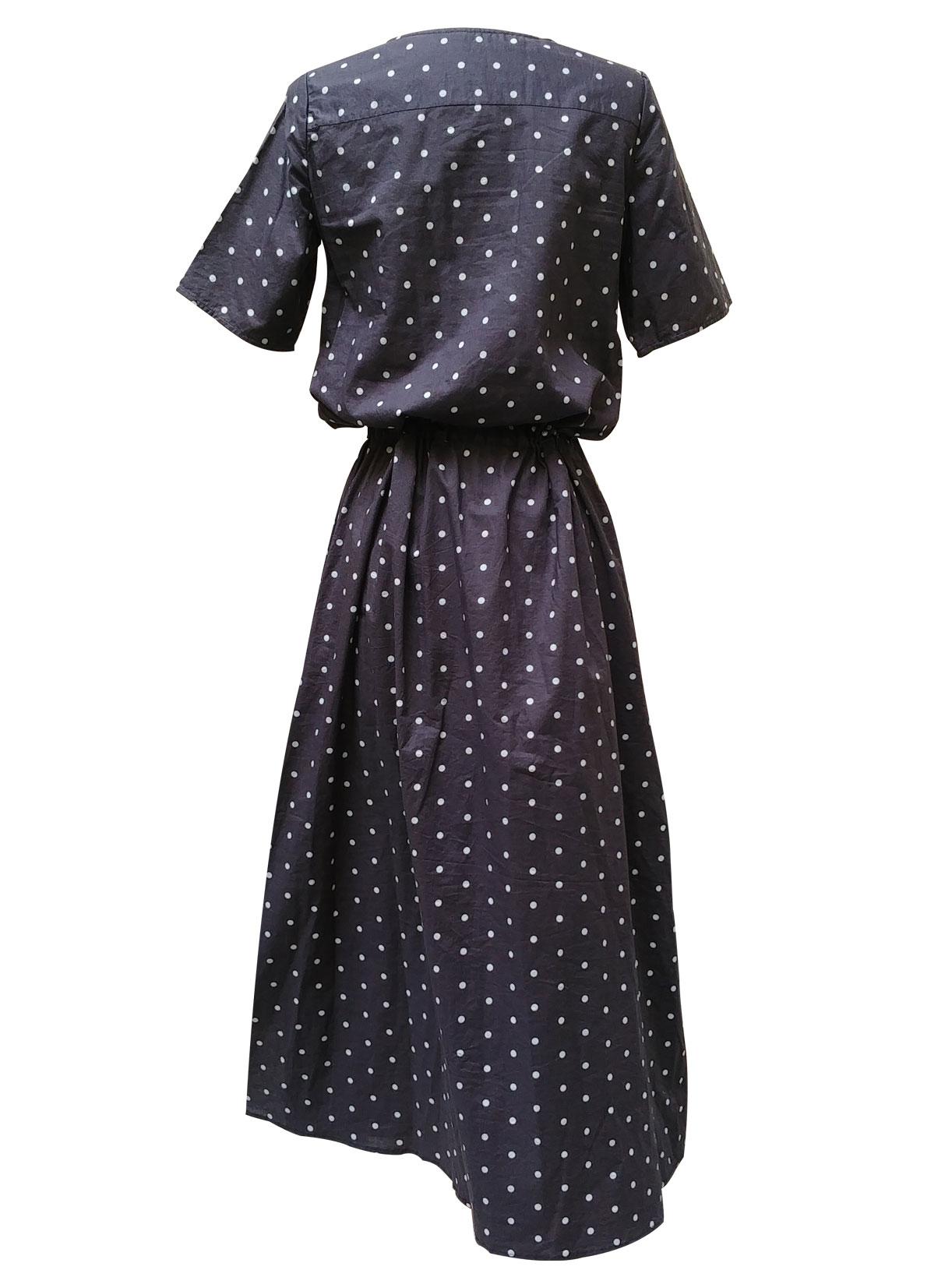 Robe fendue en coton bleu grise ecoresponsable - Myphilosophy