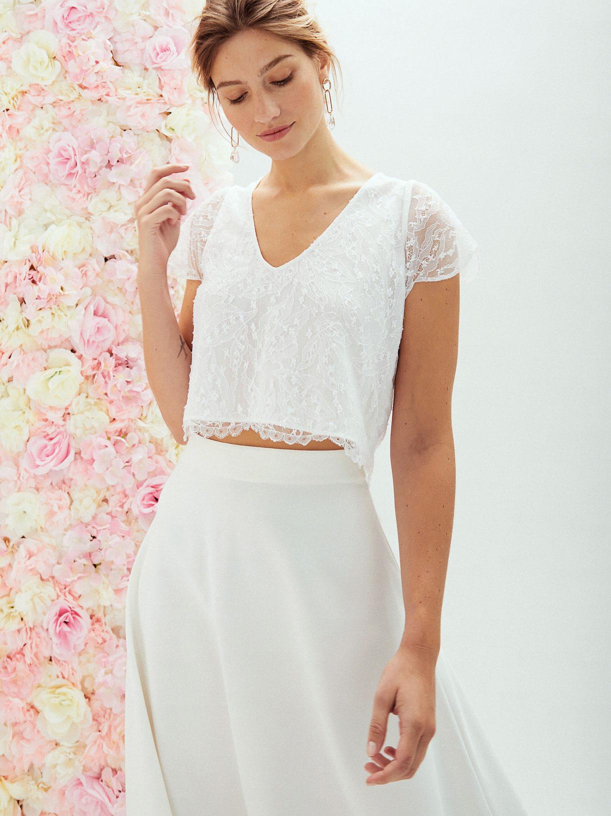Robe de mariee longue simple en corolle boheme ecoresponsable - Creatrice de robe de mariée éthique et écoresponsable a Paris - Myphilosophy