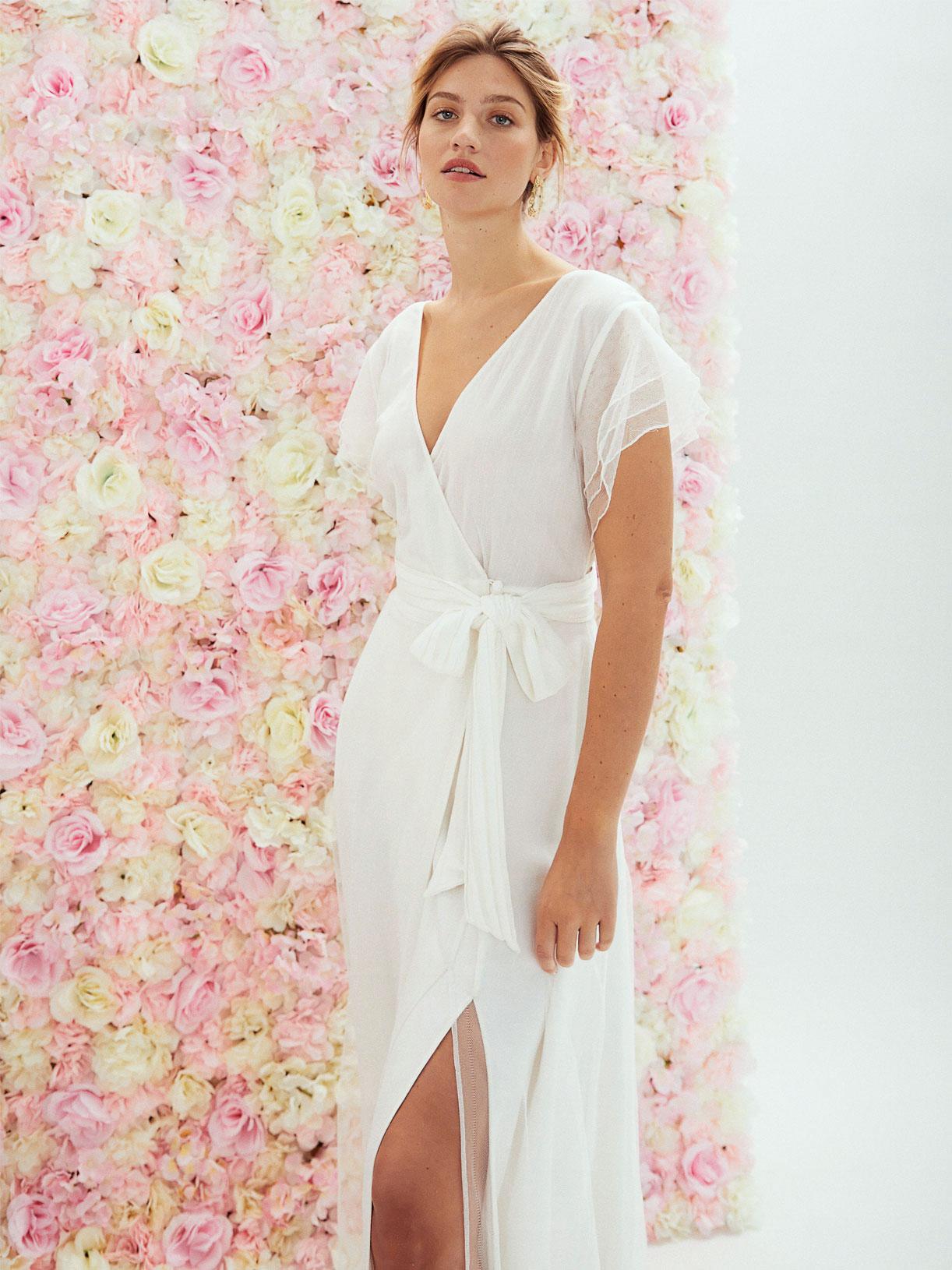 Robe de mariee dos nu portefeuille cache-coeur fendue boheme ecoresponsable - Creatrice de robe de mariée éthique et écoresponsable a Paris - Myphilosophy