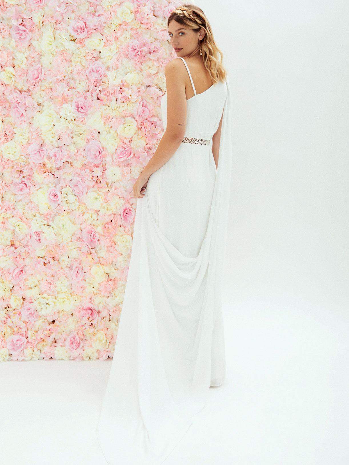 Robe de mariee deesse grecque boheme asymetrique avec traine ecoresponsable - Creatrice de robe de mariée éthique et écoresponsable a Paris - Myphilosophy