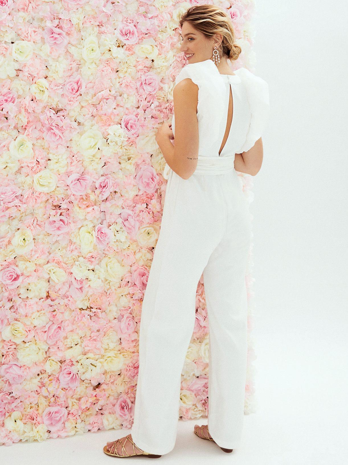 Combinaison de mariée a pantalon large et volants ecoresponsable et sur mesure  - Creatrice de robe de mariée éthique et écoresponsable a Paris - Myphilosophy