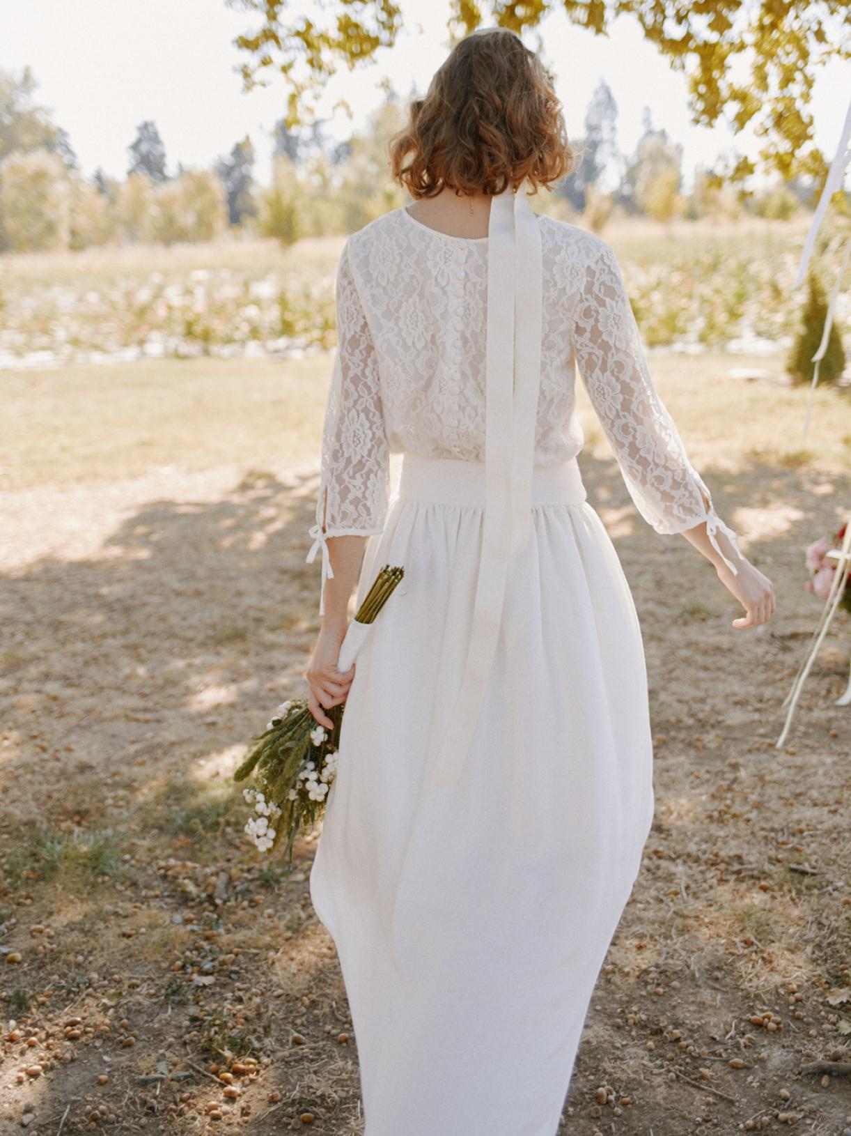 Robe de mariée asymétrique ecoresponsable - Myphilosophy Paris