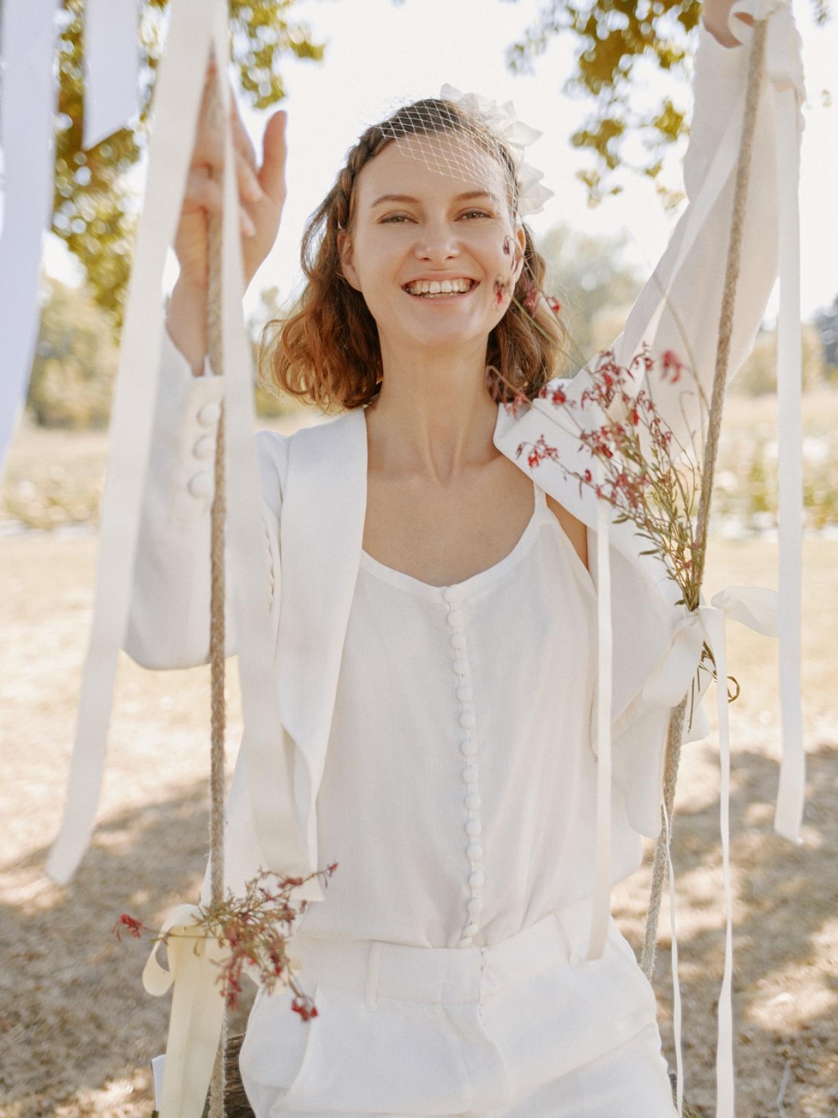 Veste tailleur de mariée blanc écoresponsable - Creatrice de robe de mariée éthique et bio a Paris - Myphilosophy