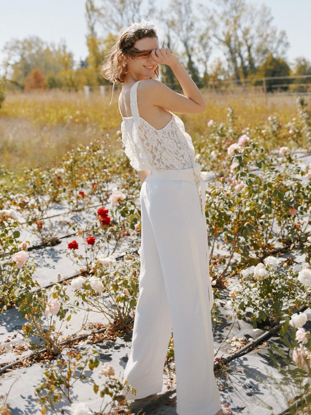 Pantalon tailleur de mariée large ecoresponsable et éthique - Myphilosophy