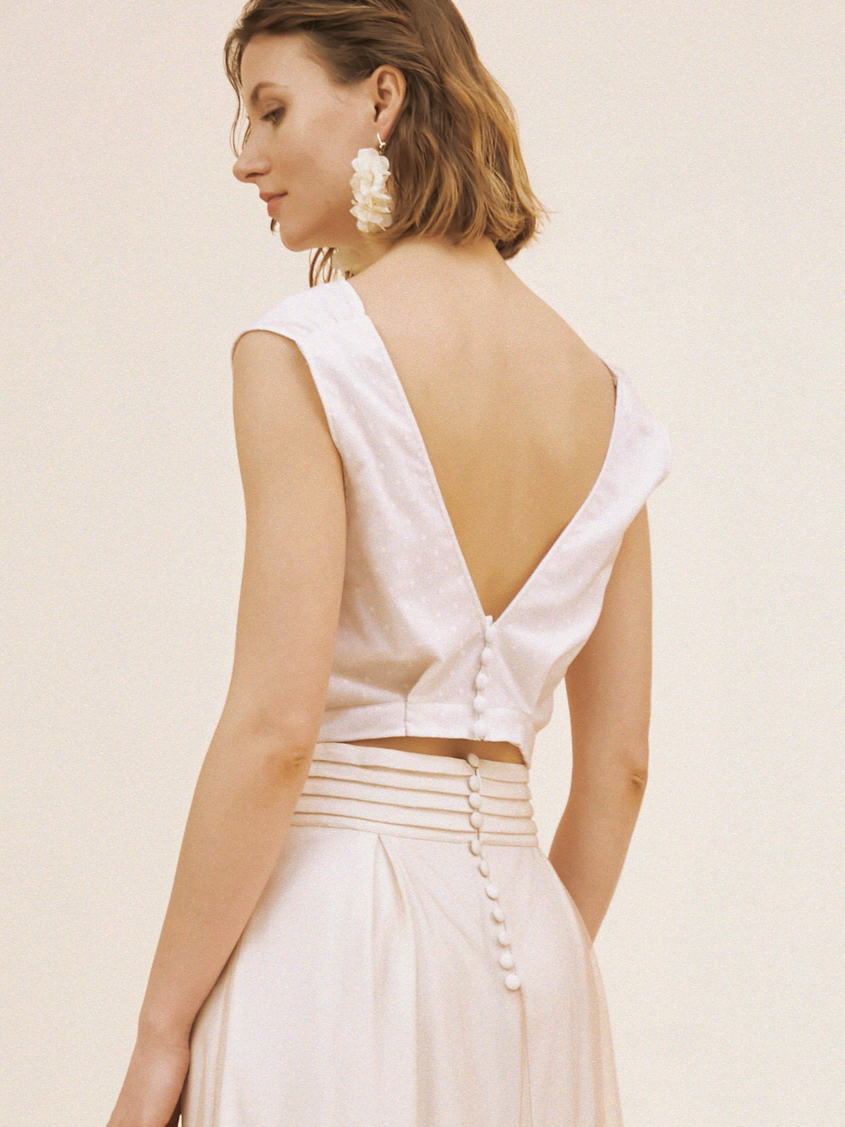 crop top de mariee boheme écoresponsable - Creatrice de robe de mariée éthique et bio a Paris - Myphilosophy