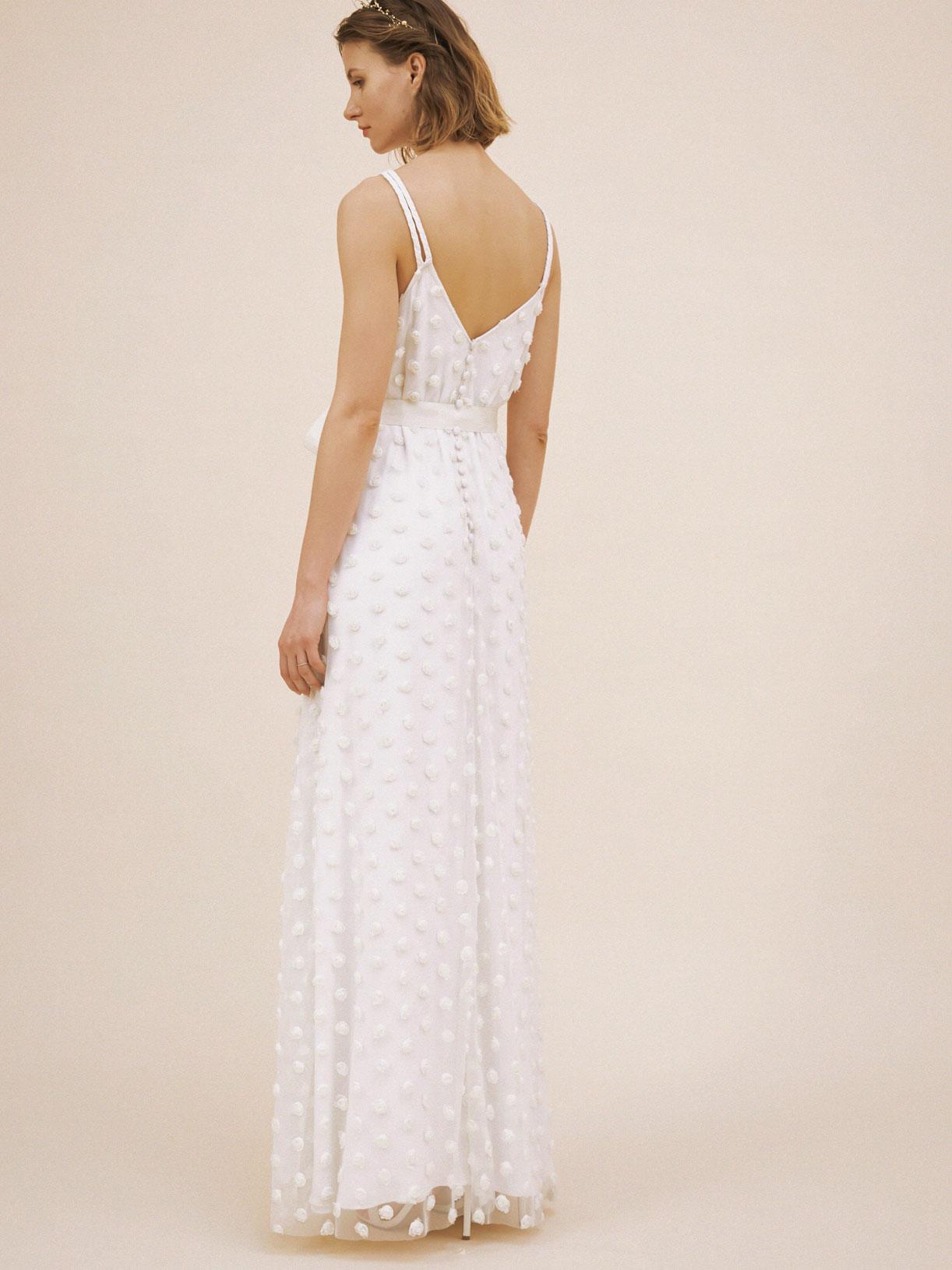 Robe de mariée bohème longue en plumetis écoresponsable - Creatrice de robe de mariée éthique et bio a Paris - Myphilosophy