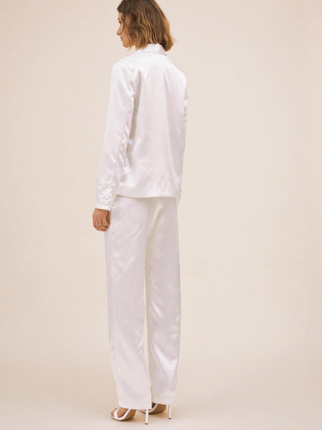 Pantalon tailleur de mariée blanc écoresponsable - Creatrice de robe de mariée éthique et bio a Paris - Myphilosophy