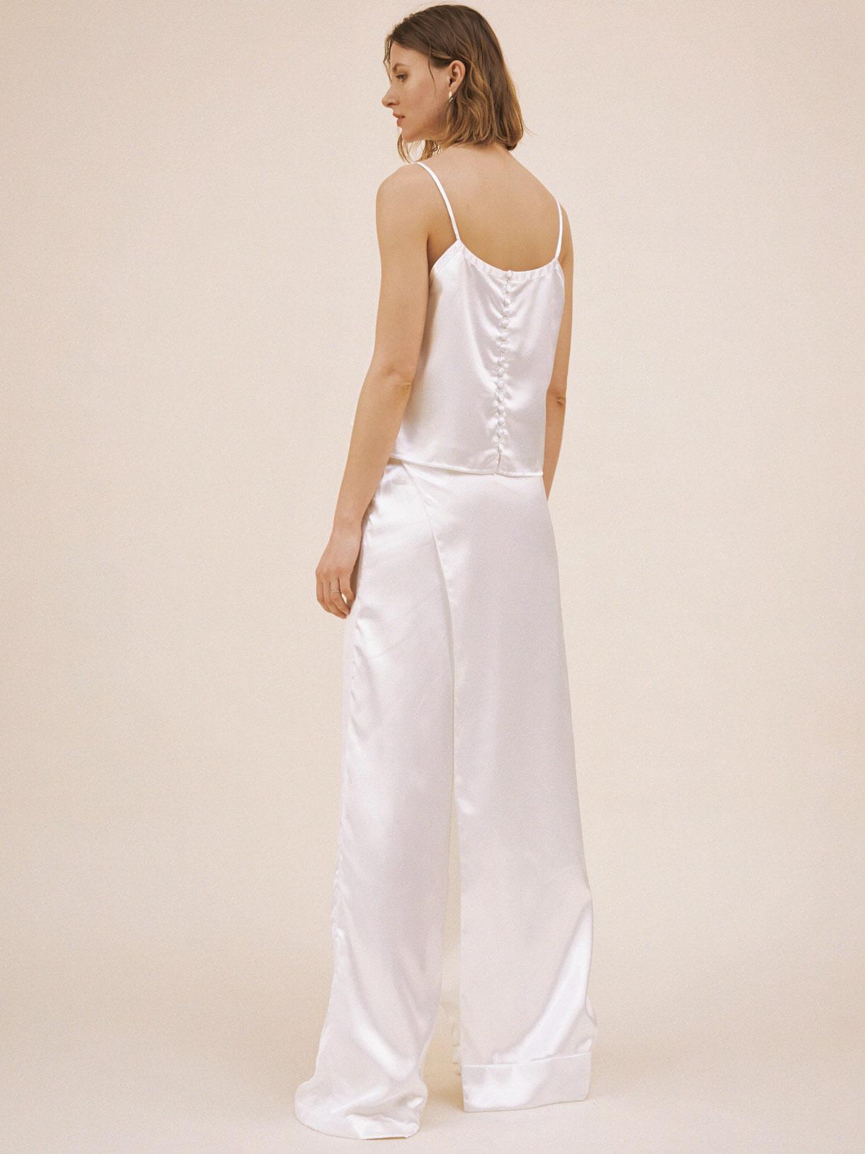 Pantalon tailleur de mariée blanc créateur original et écoresponsable - Creatrice de robe de mariée éthique et bio a Paris - Myphilosophy