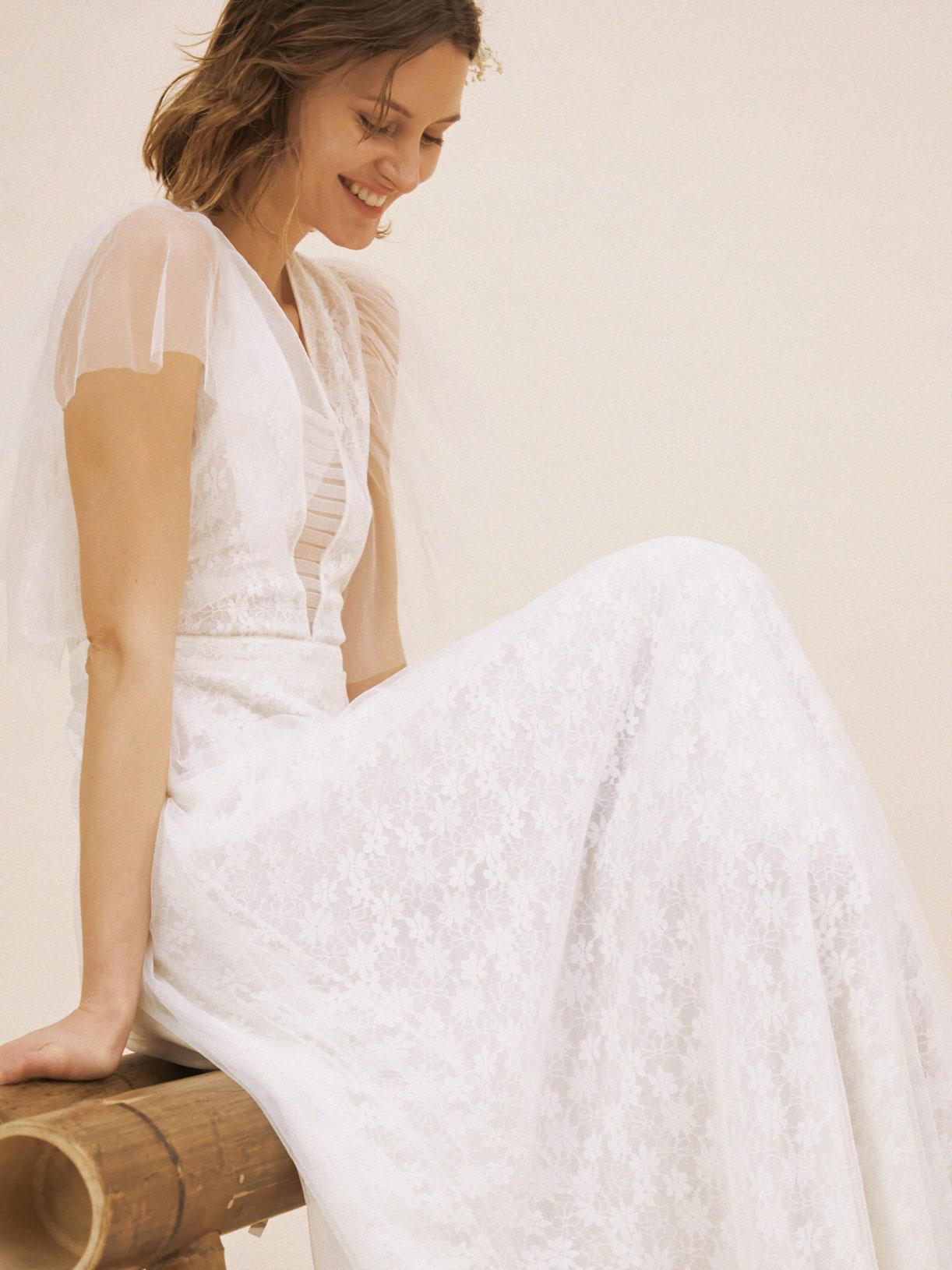 Robe de mariée romantique en dentelle écoresponsable - Creatrice de robe de mariée éthique et bio a Paris - Myphilosophy