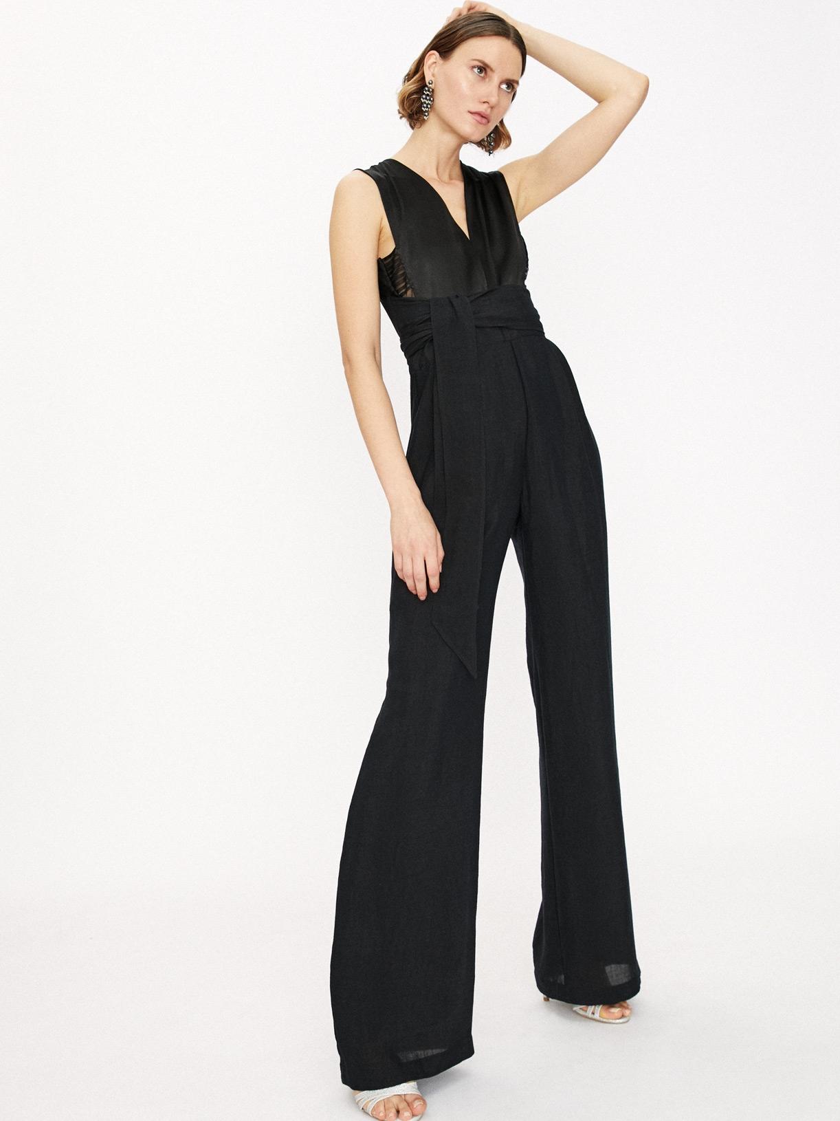 Combinaison pantalon large de soirée noire éthique et sur-mesure Sara - Myphilosophy