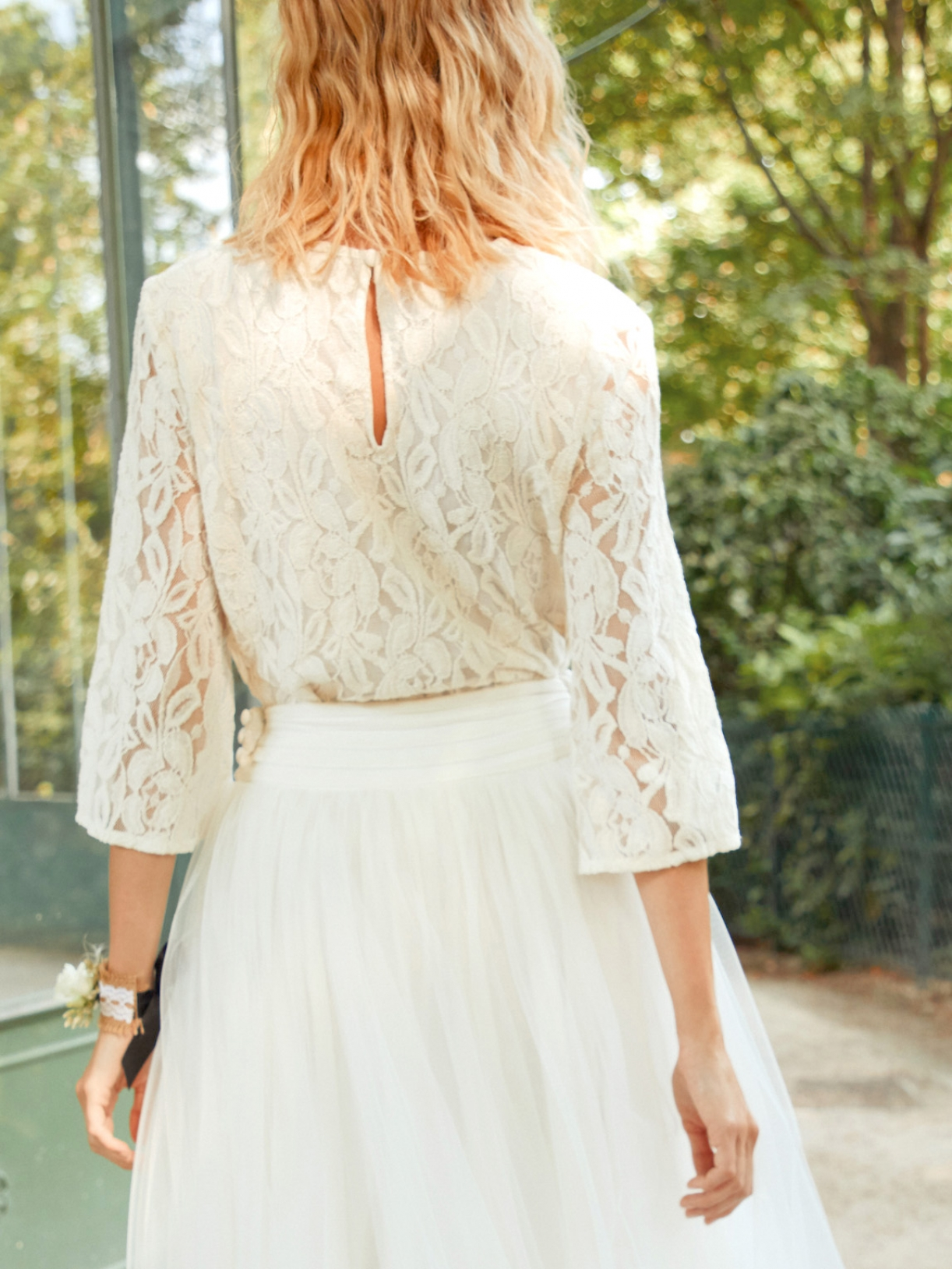 Norma top blouse chemisier de mariée bohème en dentelle à manches mi-longues - Robe de mariée créateur et sur-mesure pas cher a Paris - Myphilosophy