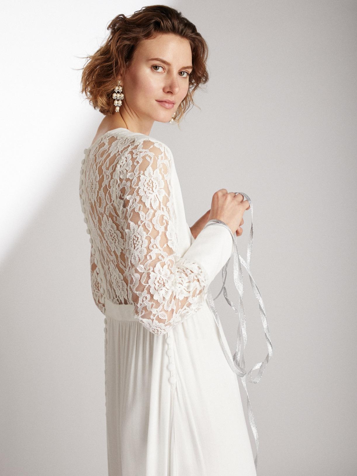 NOA - Robe de mariée longue avec manches en dentelle éthique et sur-mesure - Myphilosophy