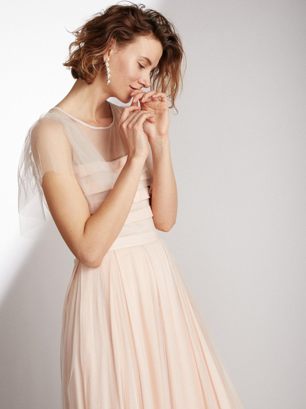 HEAVEN - Robe de mariée plissée rose a volants de tulle ethique et sur-mesure - Myphilosophy