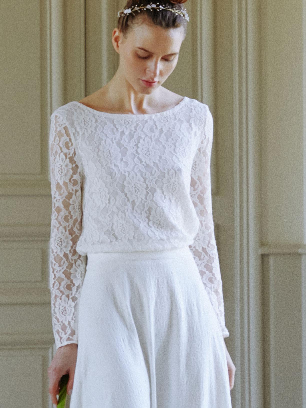 LOU - Blouse de mariée dos-nu en dentelle  - Créatrice de robes de mariée sur-mesure éthique et bio sur Paris - Myphilosophy