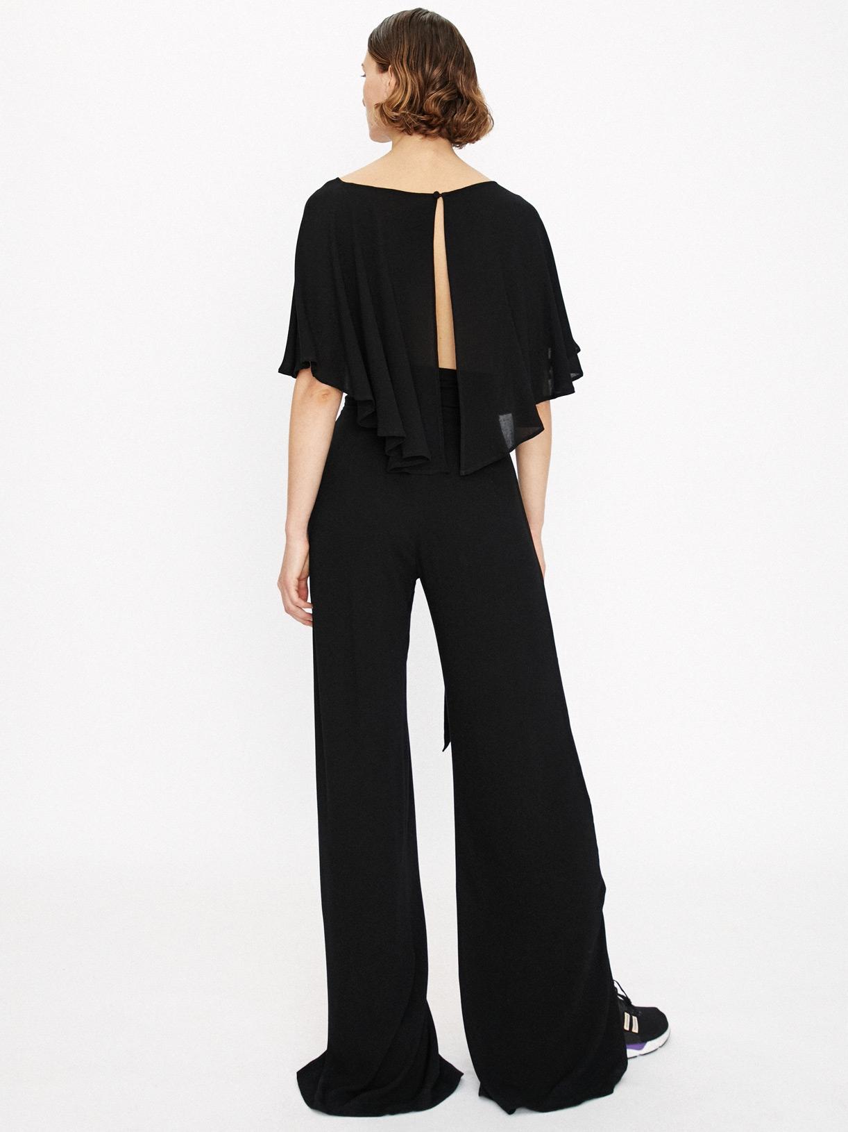 Pantalon large fendu noir a ceinture large éthique et sur-mesure Andra - Myphilosophy