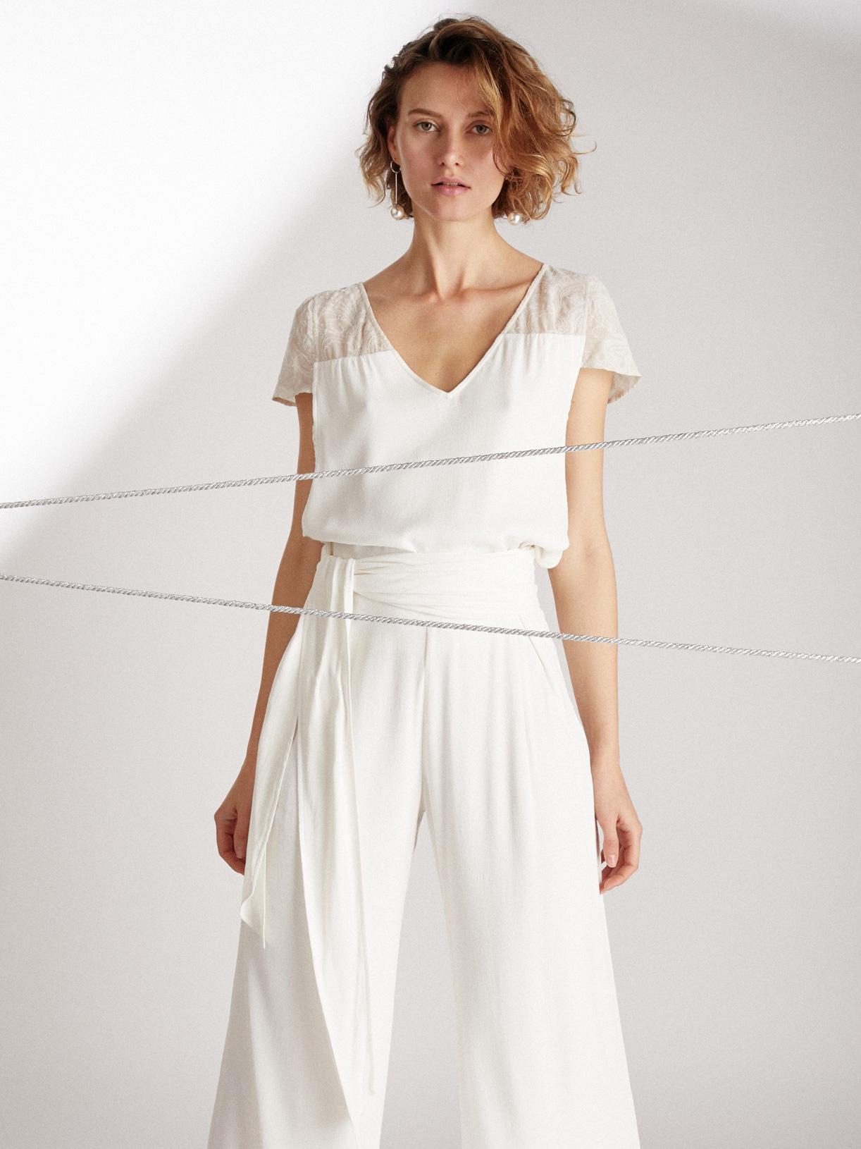 AMOUR - Pantalon de mariée large et fendu avec ceinture large éthique et sur-mesure - Myphilosophy