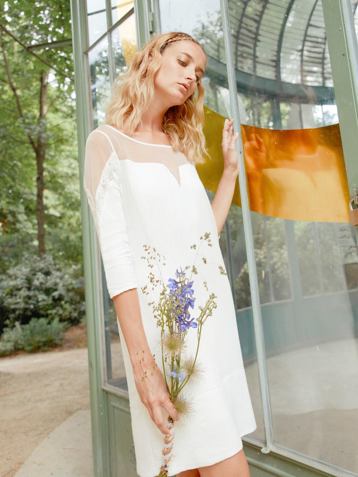 ELSA - Robe de mariée courte ajourée transparente - Robe de mariée créateur et sur-mesure pas cher a Paris - Myphilosophy